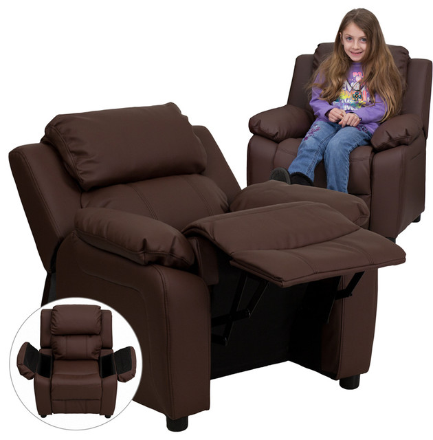 Flash furniture deluxe heavily padded contemporary brown for Toddler leather chair