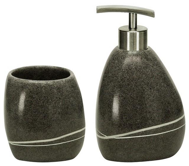 Stone Polyresin Modern Bathroom Accessories Set Of 2