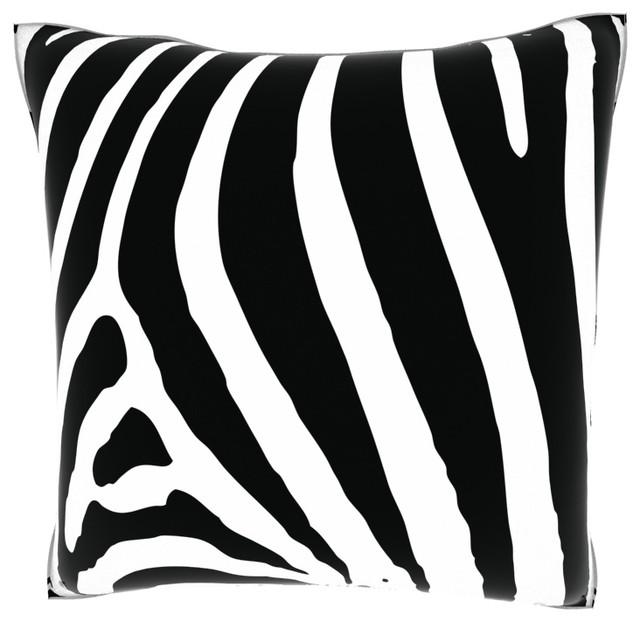 Zebra Black and White 18-inch Velour Throw Pillow contemporary-decorative-pillows