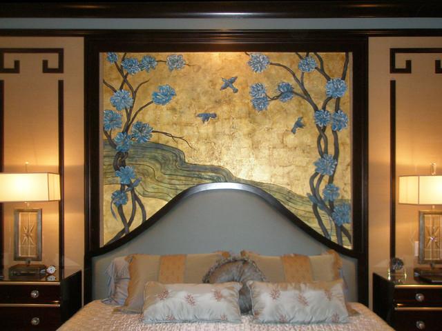 Mural on Metal Leaf traditional-bedroom