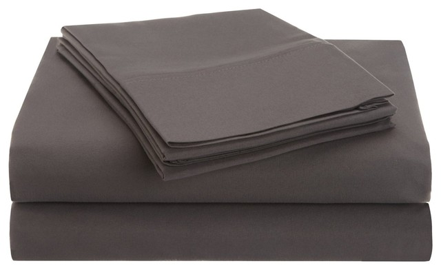 1500 Full Sheet Set Microfiber Solid - Silver traditional-sheets