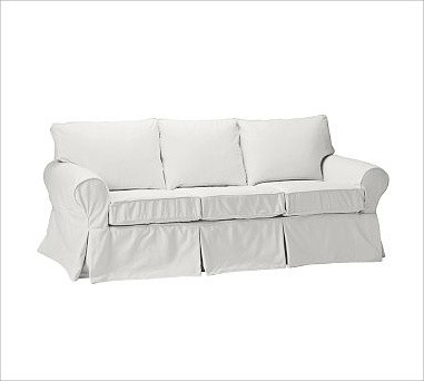 PB Basic Sleeper Sofa Slipcover Denim Warm White Traditional Slipcovers And Chair Covers