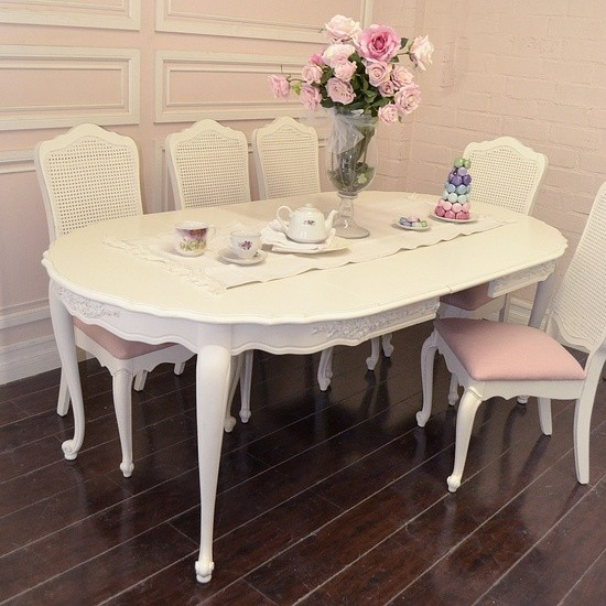 French Style White Dining Table with 3 Leaves - mediterranean