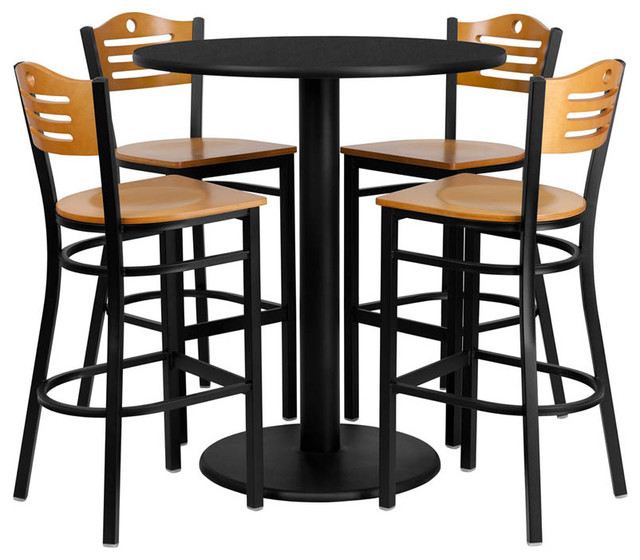 """36"""" Round Black Table Set with 4 Wood Slat Bar Stools - Natural Wood Seat contemporary-dining-sets"""