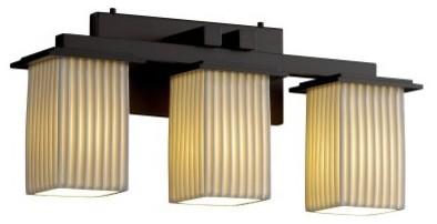 Justice Design Group Limoges POR-8673-15-PLET-DBRZ Montana 3-Light Bath Bar - Da modern-bathroom-lighting-and-vanity-lighting