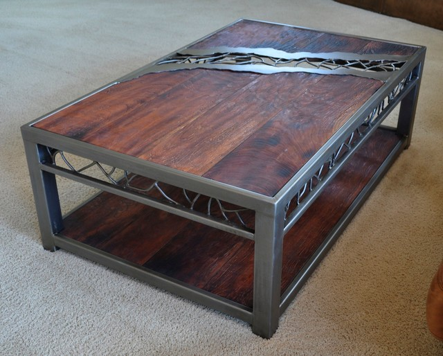 distressed wood coffee table coffee tables omaha by. Black Bedroom Furniture Sets. Home Design Ideas