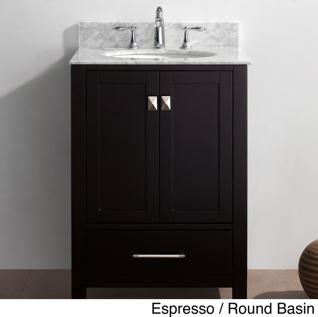 Virtu USA Caroline Avenue 24 Inch Single Sink Bathroom Vanity Set Contempor