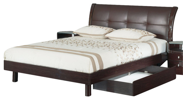 Global Furniture USA Evelyn Sleigh Bed /w Upholstered Headboard in Wenge - Full traditional-beds