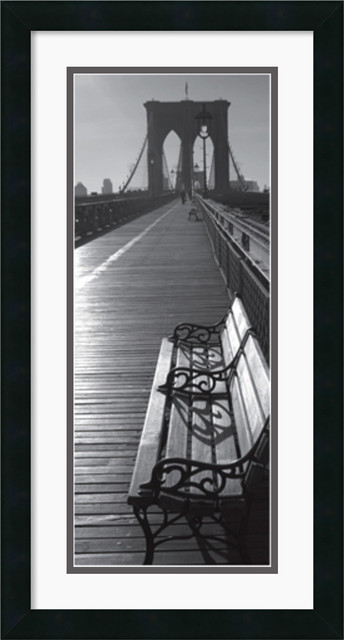 Brooklyn Bridge Benches Framed Print traditional-prints-and-posters