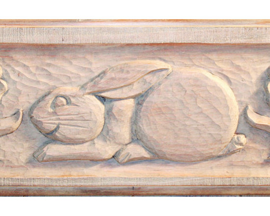 Bunnies, Baskets, Ducks, Quail & More - Detail from a Screen Door, Redwood, Hand Carved by Reed Bros.