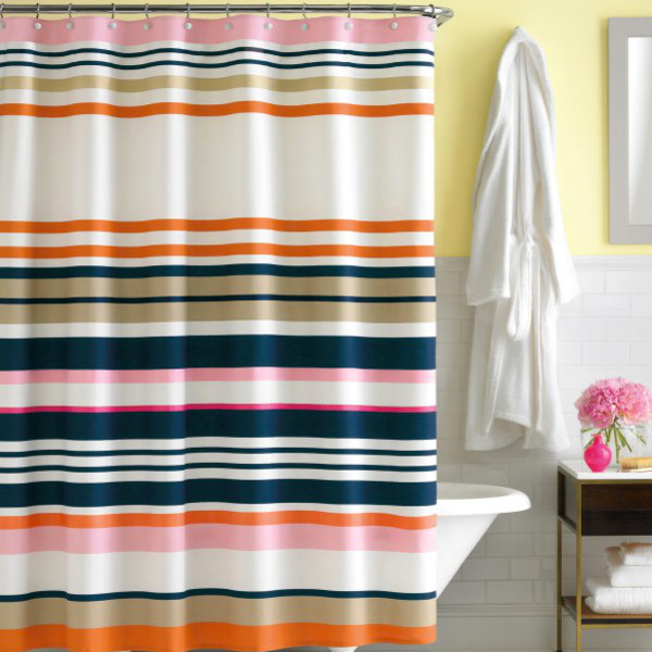Kate spade new york candy shop stripe fabric shower for Bed bath and beyond kate spade