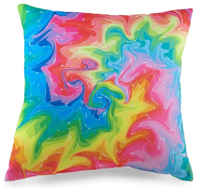 Colorful Swirl Photo-Printed Throw Pillow - Eclectic - Decorative Pillows - by Plow & Hearth