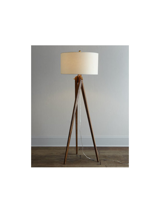 VISUAL COMFORT - VISUAL COMFORT Tripod Floor Lamp - A bit retro, a bit contemporary, this floor lamp puts light where you need it without overwhelming your decor. Designed by Earl F. (Sandy) Chapman exclusively for Visual Comfort. Handcrafted of wood with a French-wax finish. Natural parchment shade.....