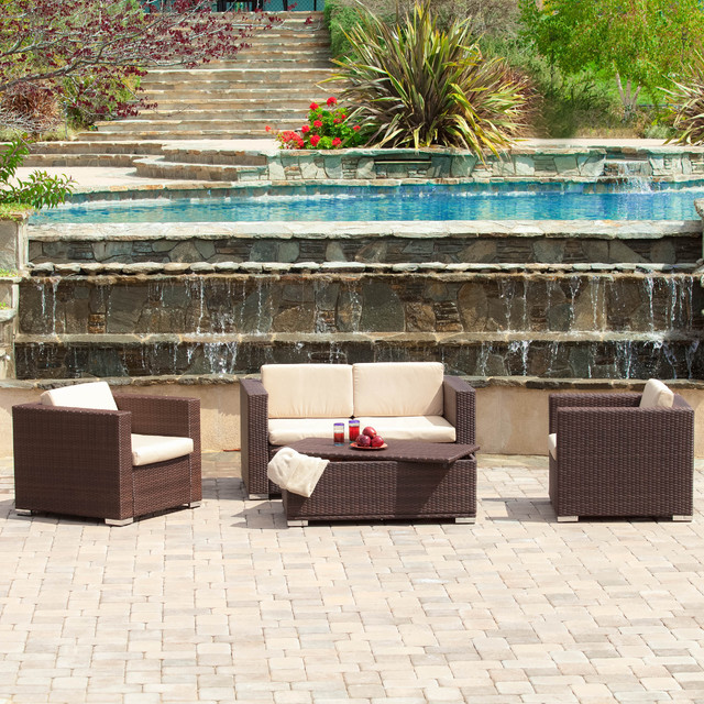 Christopher Knight Home Murano PE Wicker Outdoor 4 piece Sofa Set Contempor