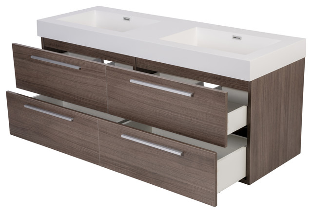 54 Alnoite Modern Wall Hung Double Sink Bathroom Vanity