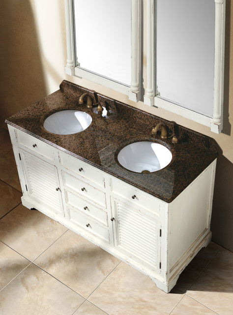 "59.25"" Antique Dreams Double Bath Vanity - Antique White traditional-bathroom-vanities-and-sink-consoles"