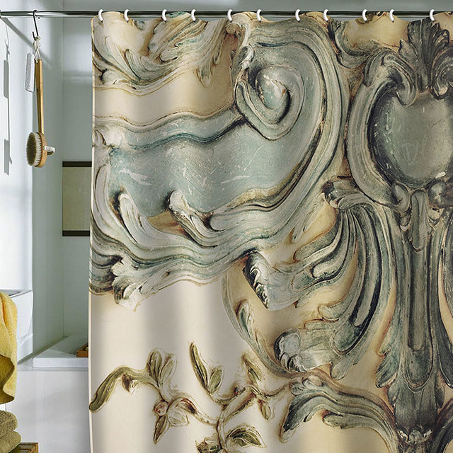 DENY Designs Happee Monkee Versailles Bluelace Shower Curtain contemporary-showers
