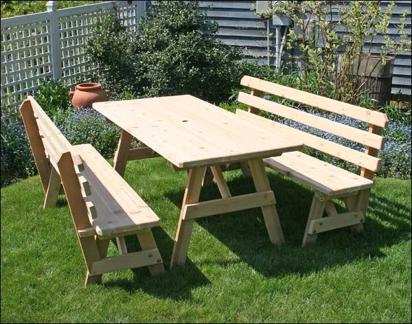 Red cedar picnic table w backed benches contemporary for 10 person picnic table