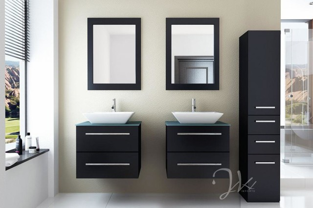 """48"""" Double Carina Double Glass Top Vanity modern"""