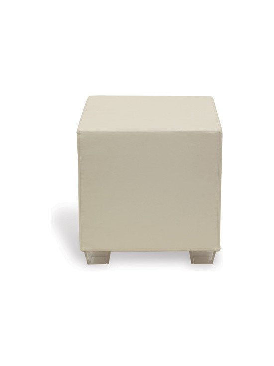 Hancock Ivory Ottoman - This stunning ivory ottoman blends beautifully with any color scheme! Use as an accent table, an ottoman or for additional seating!