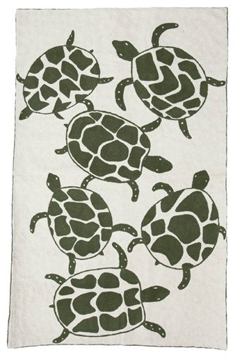 Chain Stitch Rug in Olive Turtles by Virginia Johnson eclectic-rugs