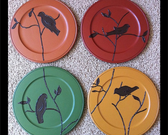 Gathering birds on branches / plates for the wall -