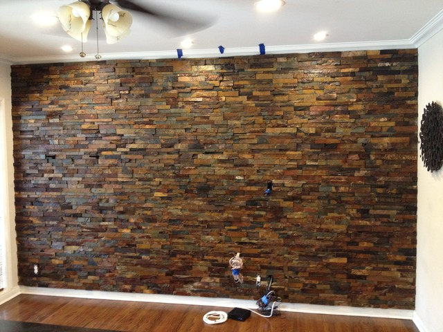 Interior Ledger Stone Wall Application - Rustic - los angeles - by SJS Construction Associates