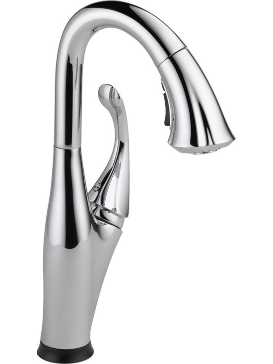 Delta Touch2O Kitchen Faucet - Delta 9992T-DST Addison Single Handle Pull-Down Bar/Prep Faucet featuring Touch2O® and Diamond Seal Technology in Chrome