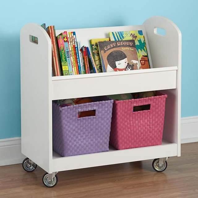 Local Branch Library Cart, White traditional-kids-decor