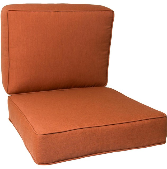 Large Replacement Club Chair Cushion Set With Piping Canvas Paprika Modern Seat Cushions