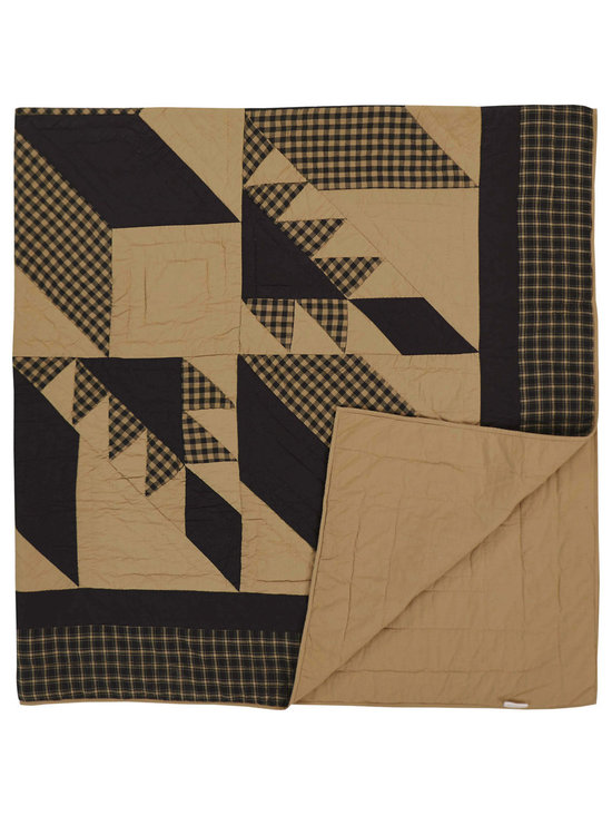 VHC Brands - Dakota Star Black and Khaki Quilt from VHC Brands, King - Dakota Star features a primitive black and khaki color scheme with a traditional 8 point star in the center, surrounded by a feathered star quilted pattern.  This quilt has a 100% cotton shell and is hand quilted with stitch in the ditch and echo style quilting. Quilts are true to size. Machine washable, please follow manufacture's instructions.
