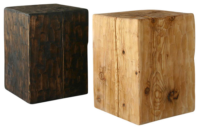 Solid pine cube table rustic side tables and end tables for Solid wood cube side table