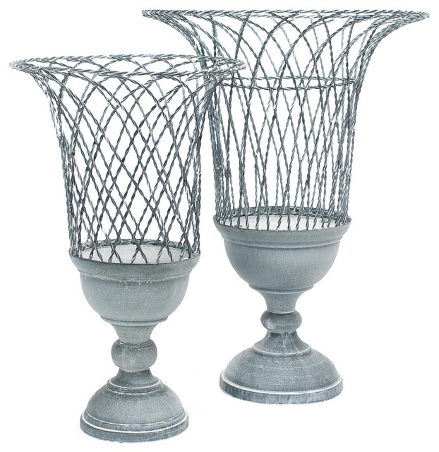 Aidan Gray French Wire Twist Pedestal Basket - Aidan-gray-g68-set | Candelabra, traditional baskets