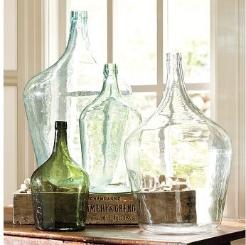Found Oversized Wine Bottles tropical vases