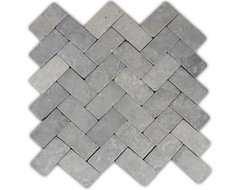 Light Grey Herringbone Stone Mosaic Tile traditional-mosaic-tile