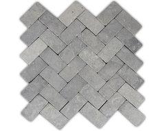 Light Grey Herringbone Stone Mosaic Tile traditional-tile
