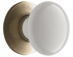 Porcelain Cabinet Knob With Brass Backplate traditional knobs