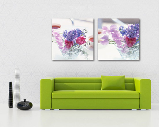 pink and violet flower canvas pictures - Two master canvas frames of one piece will add beauty to your main living room.