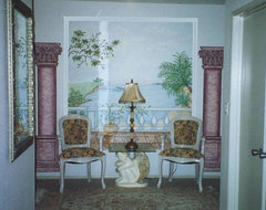 Hand Painted & Stenciled Designs & Murals - Ocean view with palm trees traditional 