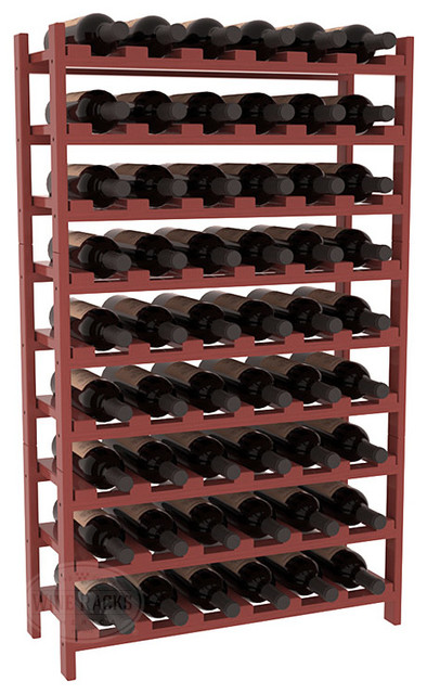 54 Bottle Stackable Wine Rack in Pine with Cherry Stain + Satin Finish traditional-wine-racks