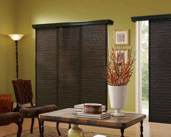 Panel Track Blinds | Global Living Room | Green & Brown | Rustic Panel Track Bli - Match your woven wood blinds: panel track blinds