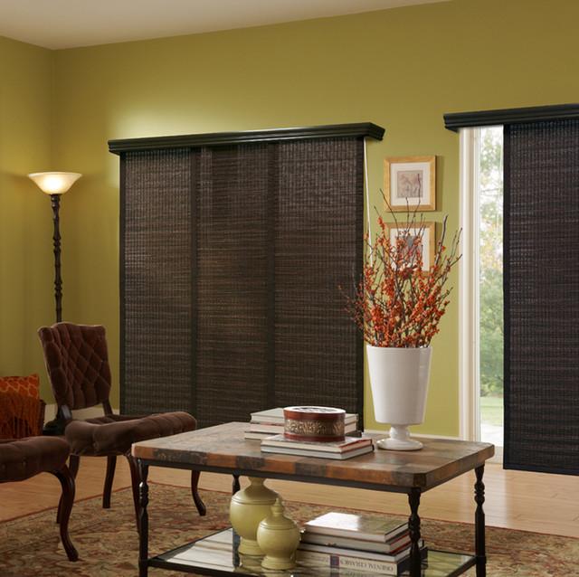 Panel track blinds global living room green brown for Living room vertical blinds
