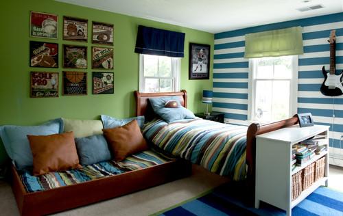 dormitorio decorado con estilo deportivo