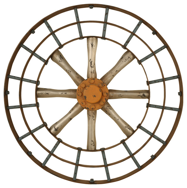 Gun metal silver and copper blue spoked wall art - Traditional - Home ...