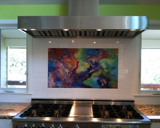 Kitchen murals - Colorful, contemporary ceramic tile mural design.