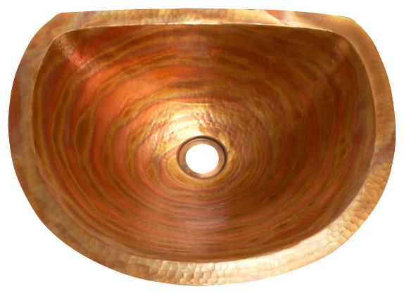 Oval Bathroom Copper Sink with Flat Back and Flat Rim rustic-bathroom-sinks