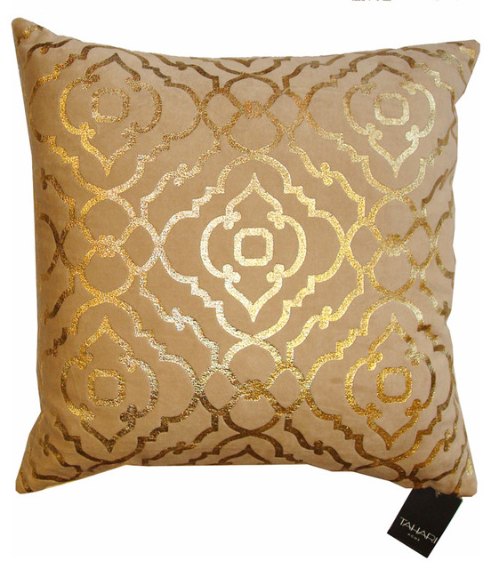 Tahari Home Decorative Pillows : Tahari Down Pillow - Mod Gold Print on Velvet - Contemporary - Decorative Pillows - by McKinley ...
