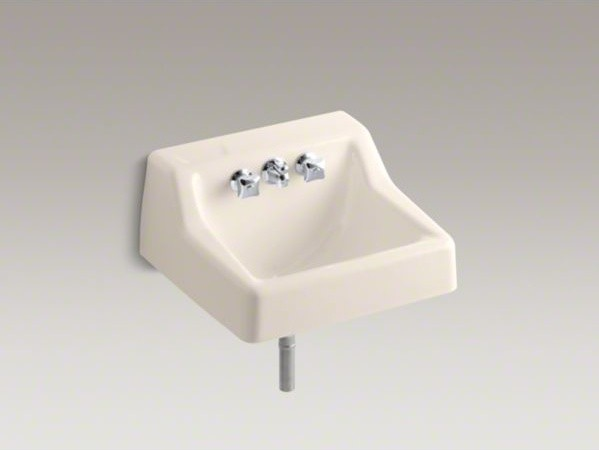 KOHLER Hampton(TM) wall-mounted commercial bathroom sink with factory-installed contemporary-bathroom-faucets-and-showerheads