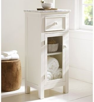 Lucca Marble-Top Floor Storage Cabinet, White - Traditional - by Pottery Barn