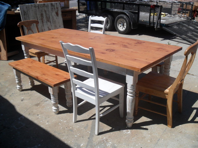 Reclaimed Wood Table Farmhouse Dining Tables Los Angeles By OLD PINE